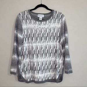 Alfred Dunner Gray & White Rope Sweater